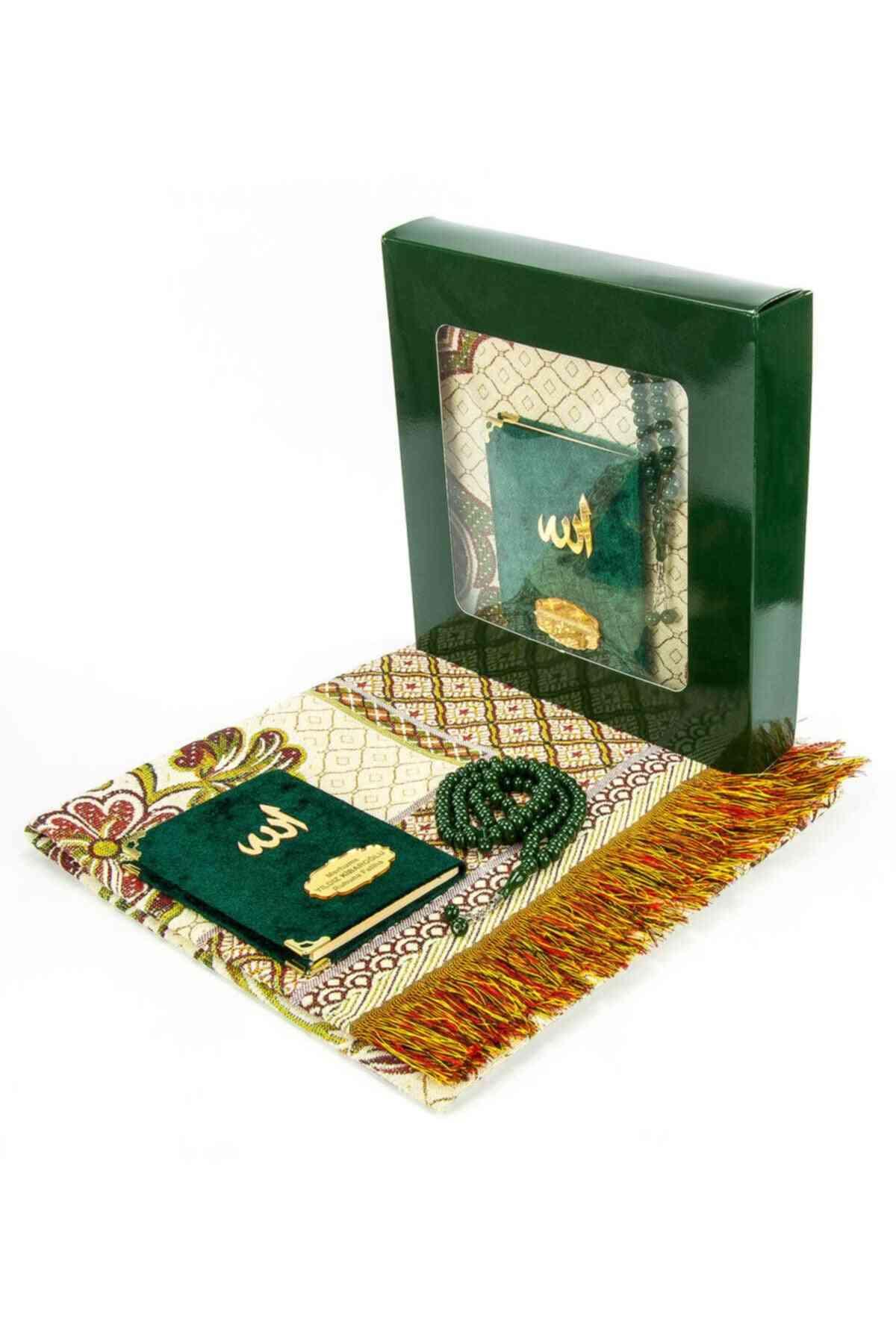 Green Prayer Carpet Yaseen Book Haj Umrah Sets