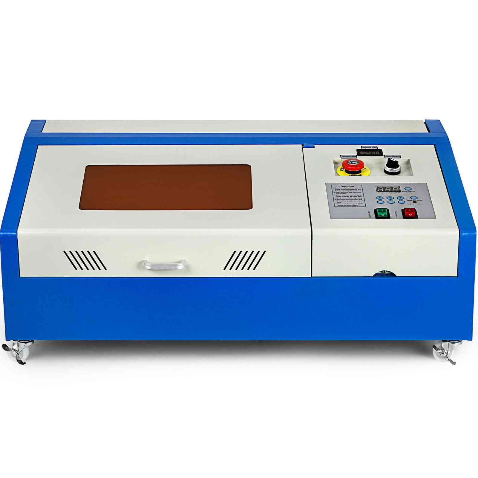 40w Co2 Laser Engraver K40 Engraving Cutting Machine Lcd 300x200mm W/wheels With Laser Tube For Bamboo Plank Wood Acrylic