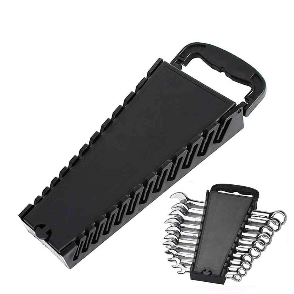 Standard Wrench Storage Rack Clip Holder Plastic Rail Tray Spanner Tools Organizer