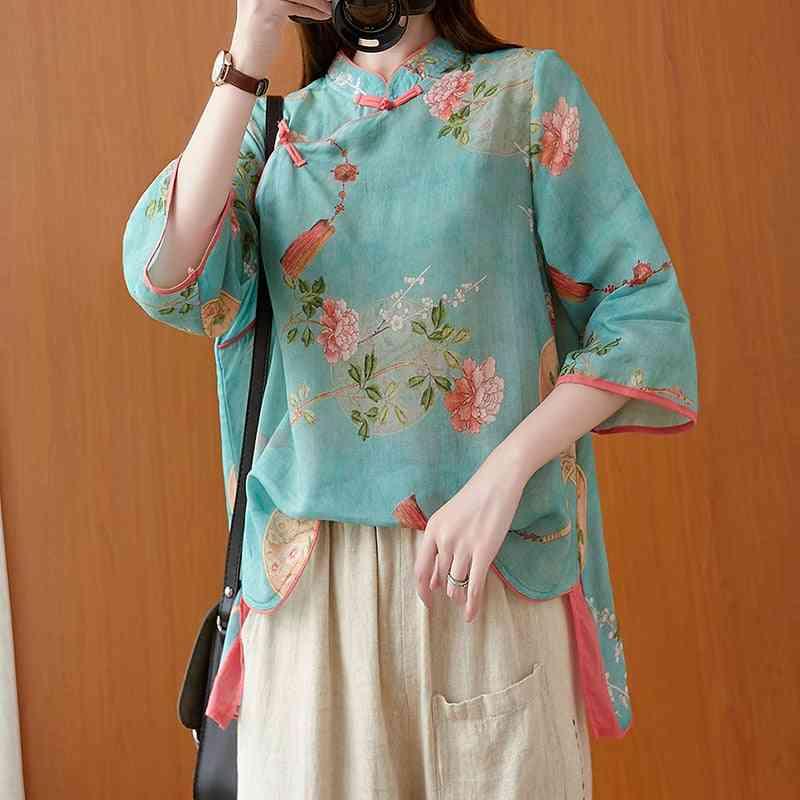Cotton Linen Tang Suit, Women's Autumn New Style Print T-shirt