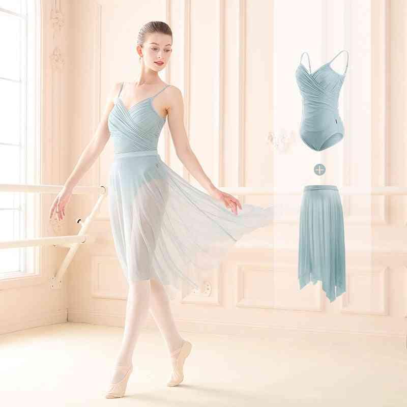 Women Dance Leotard Ballet Pleated V-neck Bodysuit Irregular Mesh Skirt