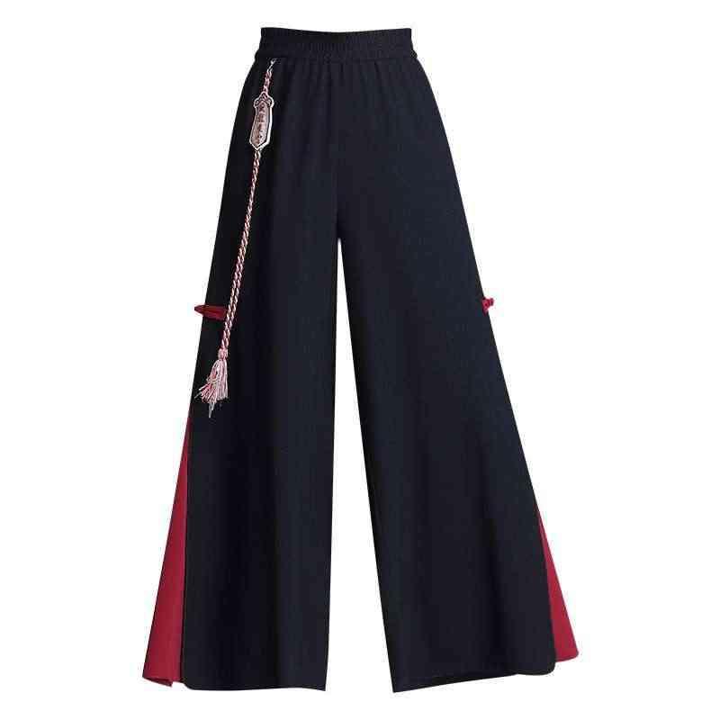 Chiffon Chinese Style Casual Trousers, Women Kung Fu Pant