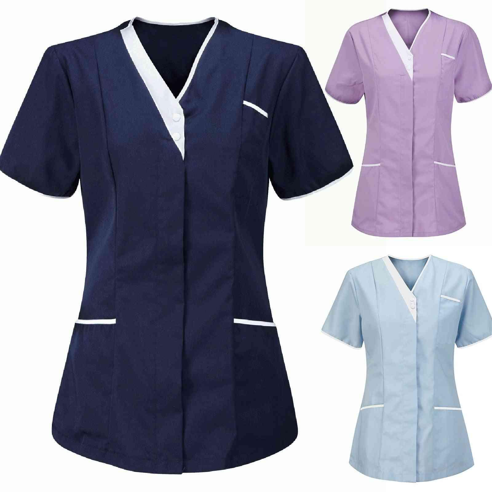Summer Work Wear Tops, Short Sleeve Sexy V-neck Uniform