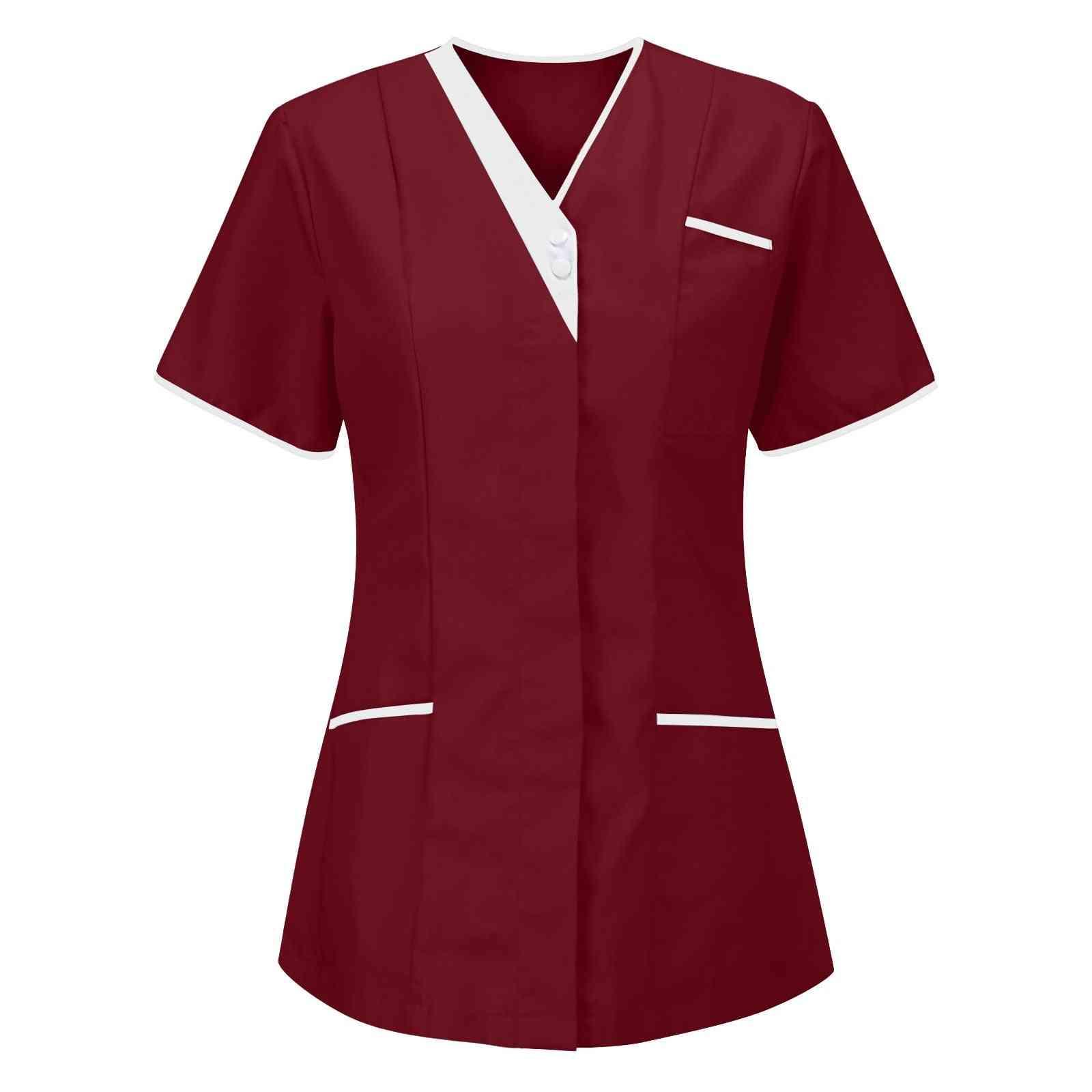 Surgery Scrub Shirt Short Sleeve Uniforms