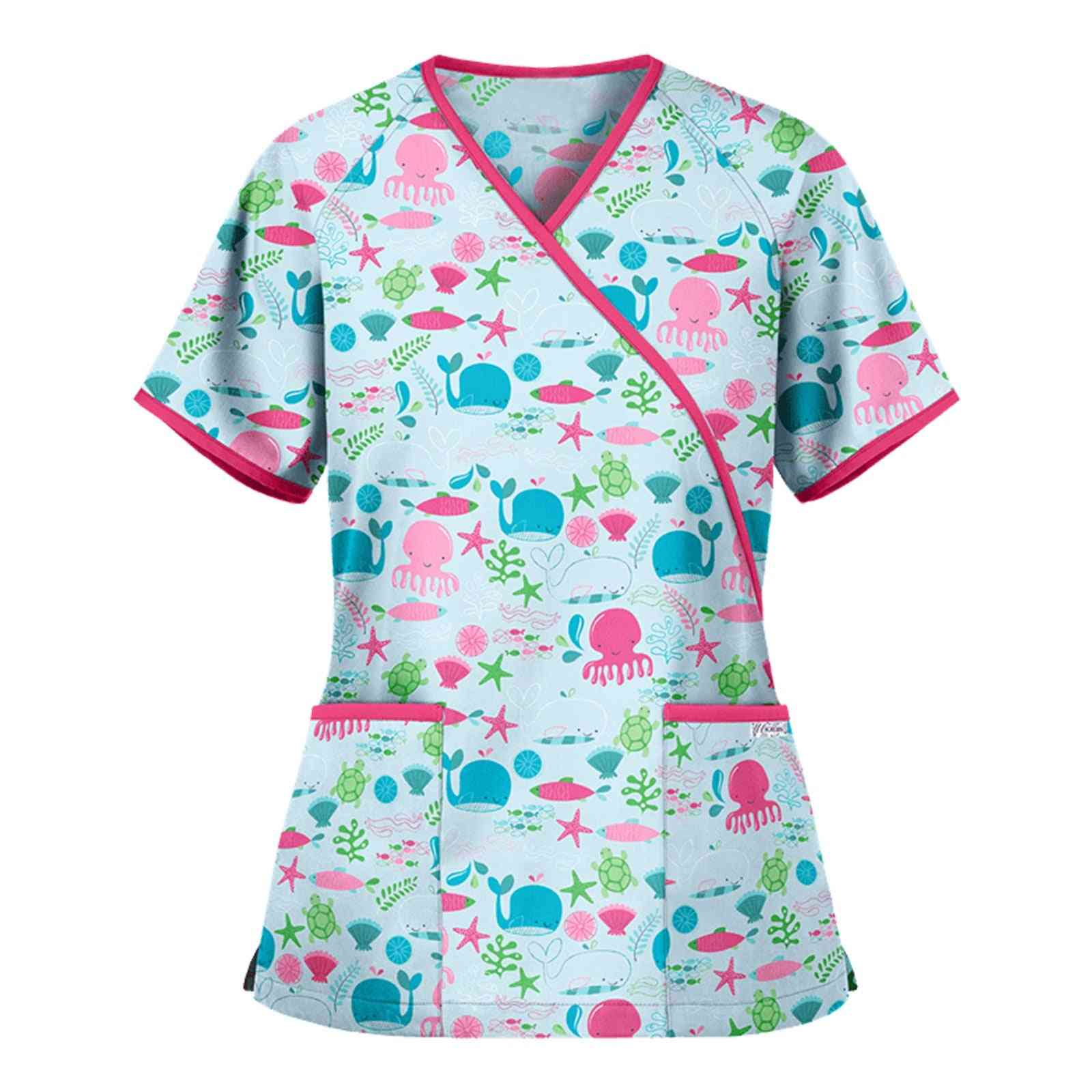 Nurse Uniform, Animal Print Sexy V-neck Uniform