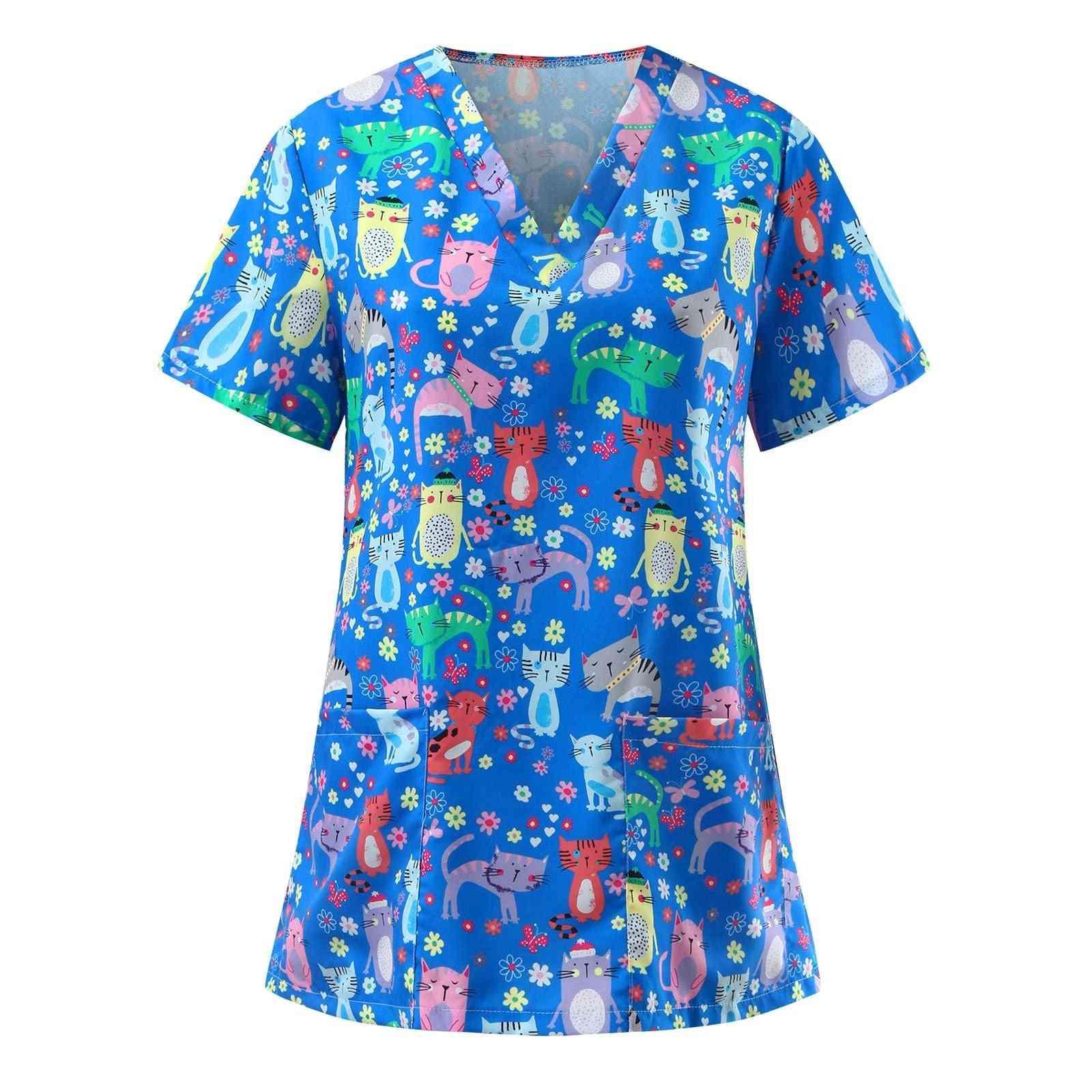 Women Blouse Short Sleeve Flower Printed V-neck Cartoon Pattern Tops