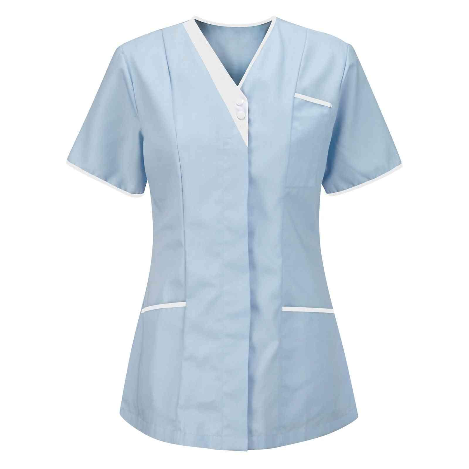 Women's Short Sleeves Working Uniform V-neck Blouse Top Soild Nurses