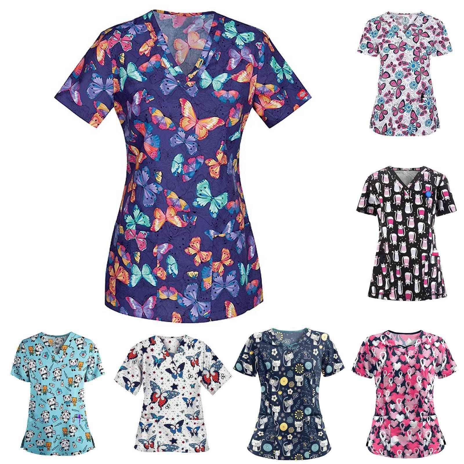 Ladies Short Sleeve V-neck Workwear Cartoon Print Working Uniform
