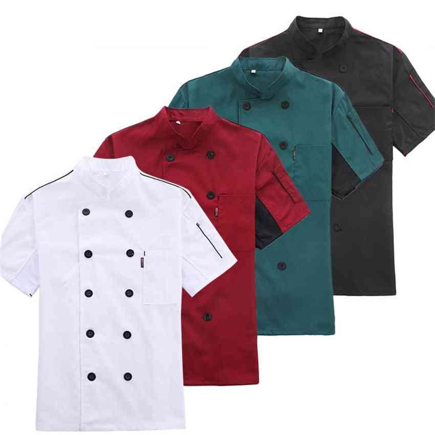 Men Chef Jacket Summer Work Wear Clothes Hat Restaurant Uniforrms Shirts