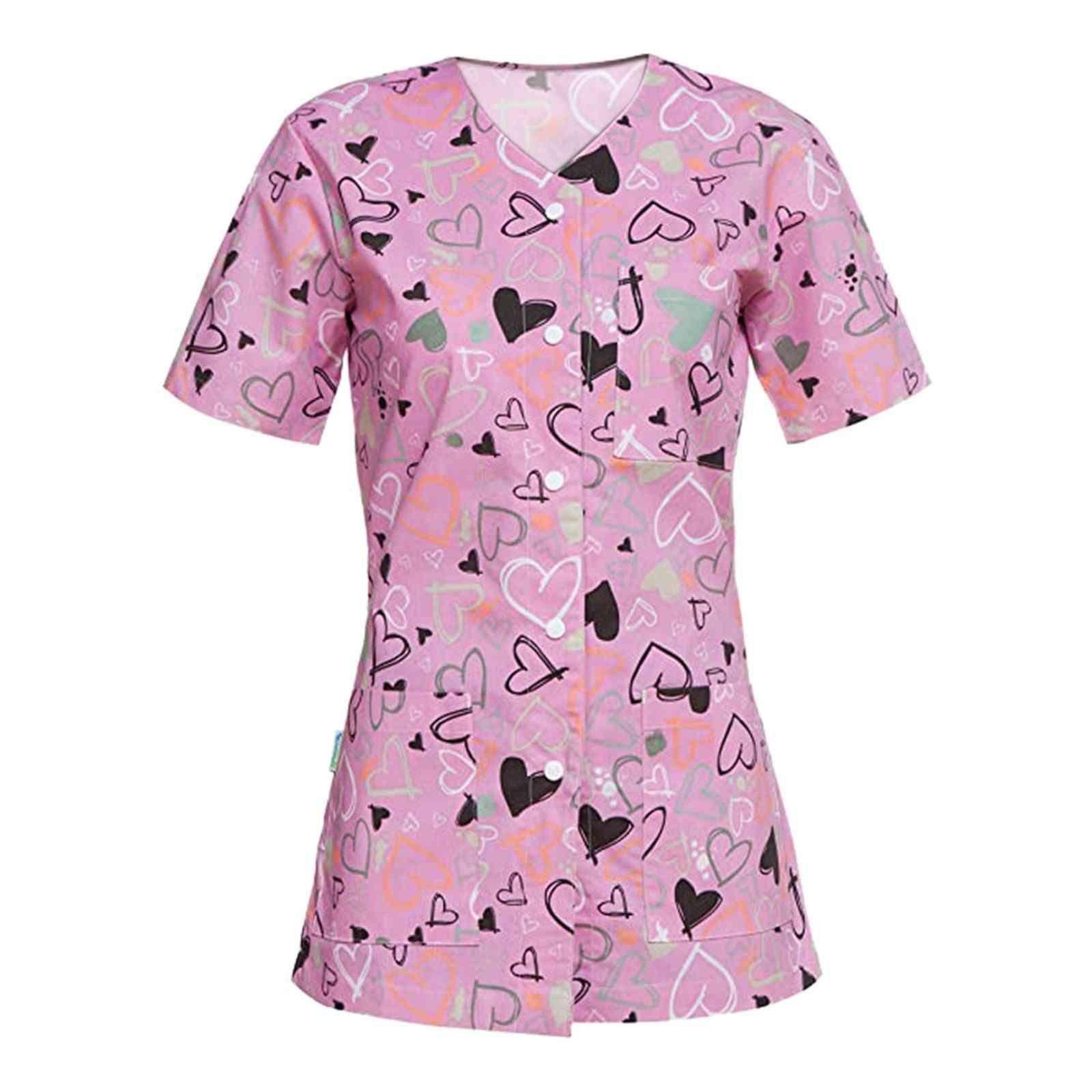 Women Cartoon Teeth Print Uniform Short Sleeve V-neck Buttons Tops