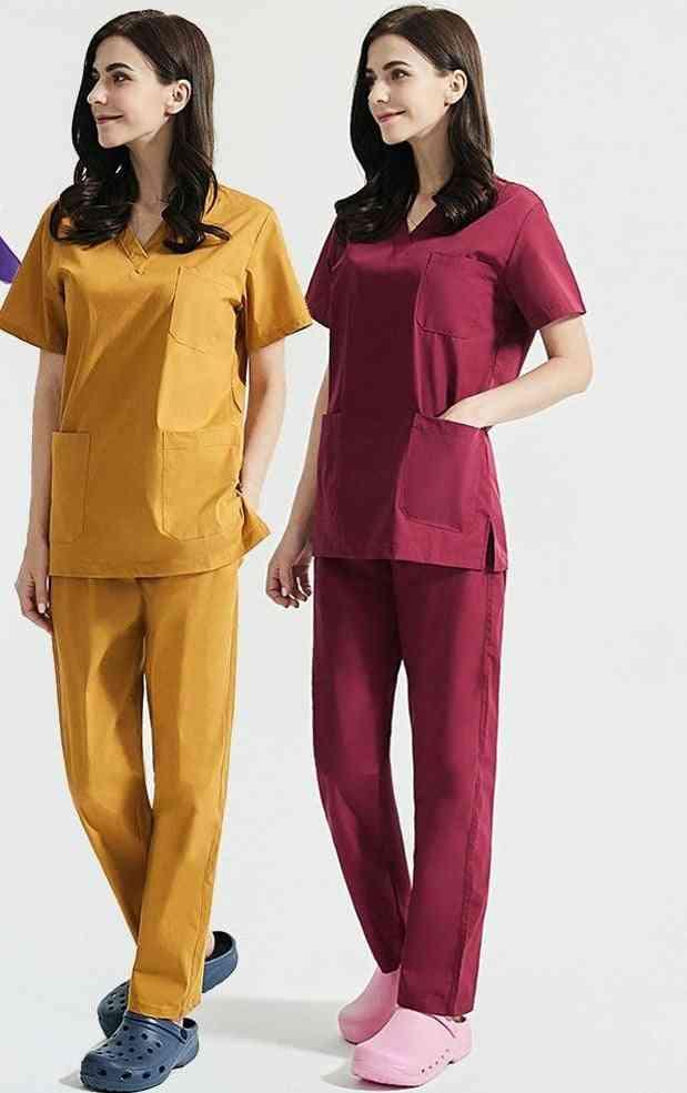 Women Short Sleeve Beauty Uniform V-neck Scrubs Tops+pants Spa Uniform