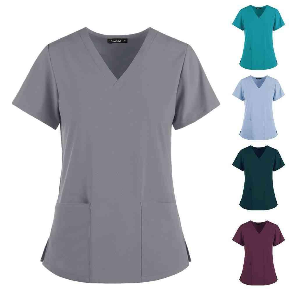 Women's Short Sleeve V-neck Pocket Care T-shirt Tops Summer Workwear Tops