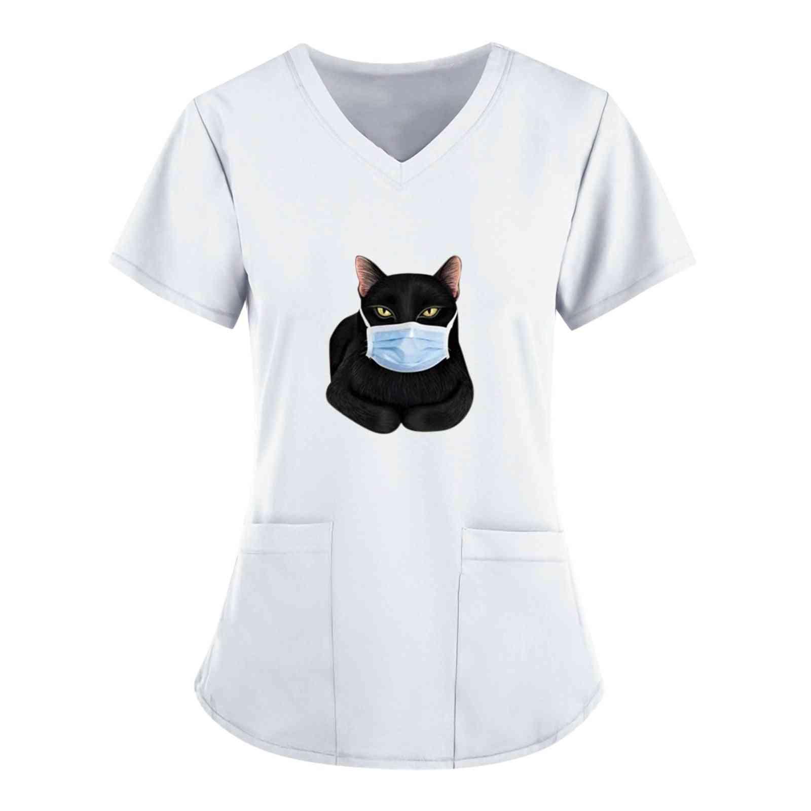 Black Cat Print Nursing Scrubs Tops