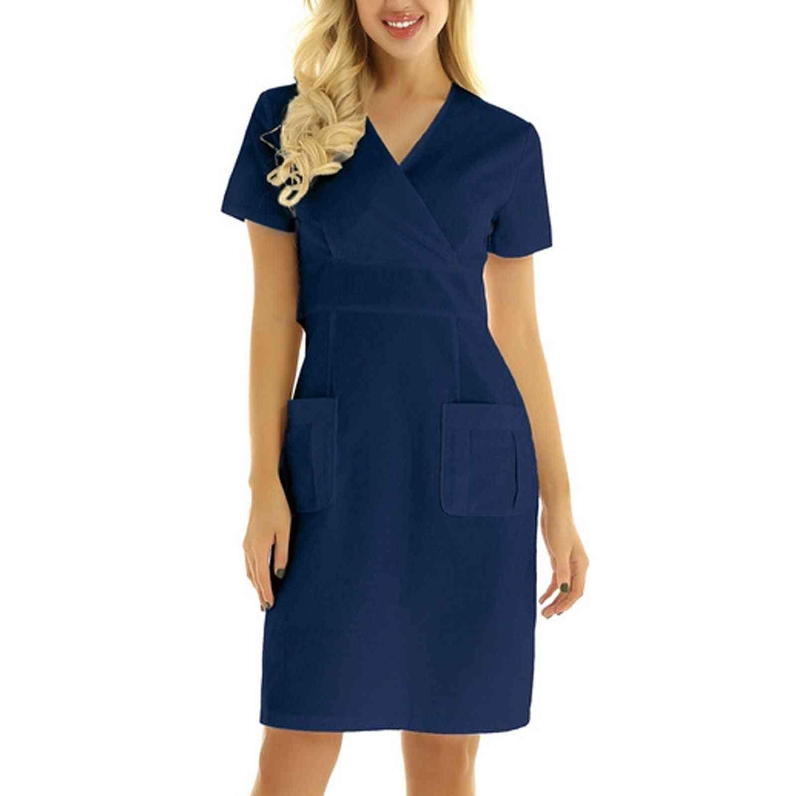Women Shirt Dress Nurse Uniform Short Sleeve V-neck Solid Working Uniform