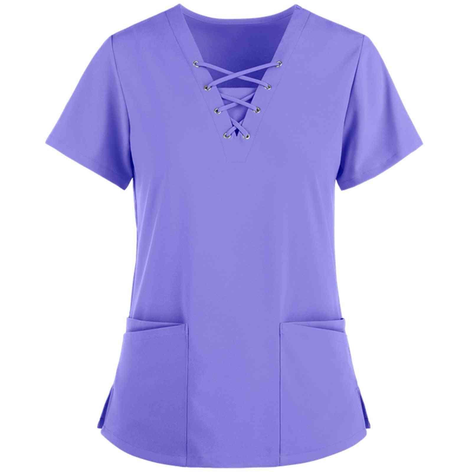 Summer Nurse Uniform Female Form Scrub Top