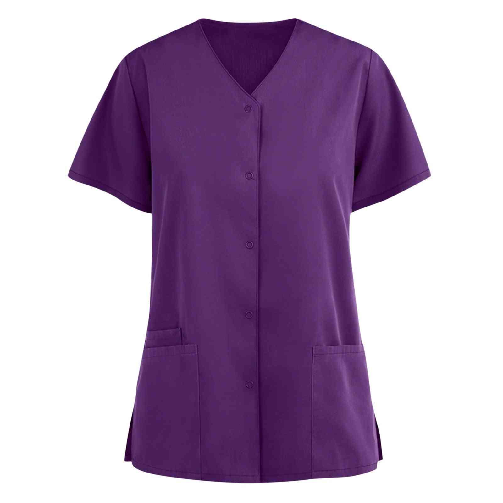 Women's Blouse Clothing Soild Short Sleeve V-neck Care Workers Shirt Top