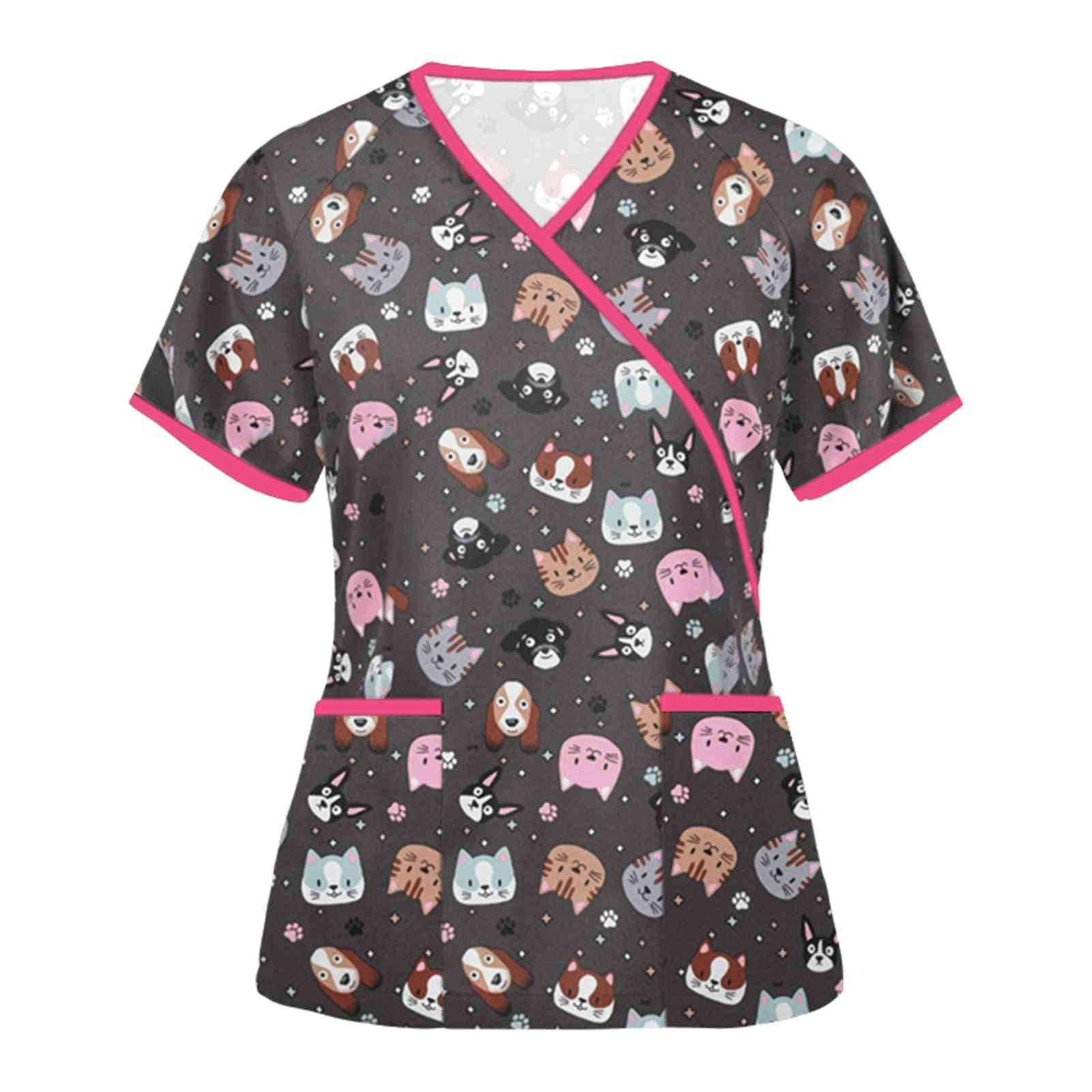 Women Blouse Fashion Short Sleeve Scrubs Tops Neck Pet Tops Working Uniform