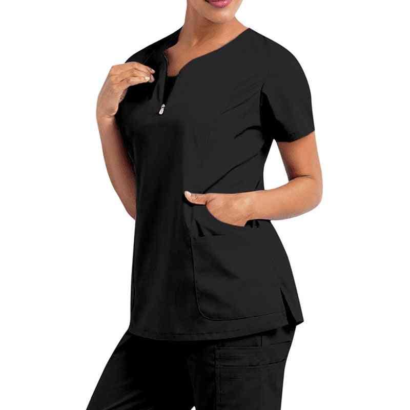 Women Solid Short Sleeve T-shirt Beauty Salon Nurse Uniform
