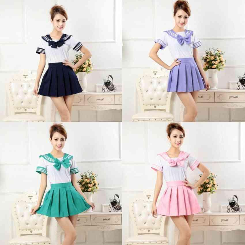 Girl School Uniform Sailor Shirt+pleated Skirt Set Knitted Woman Jk Suit