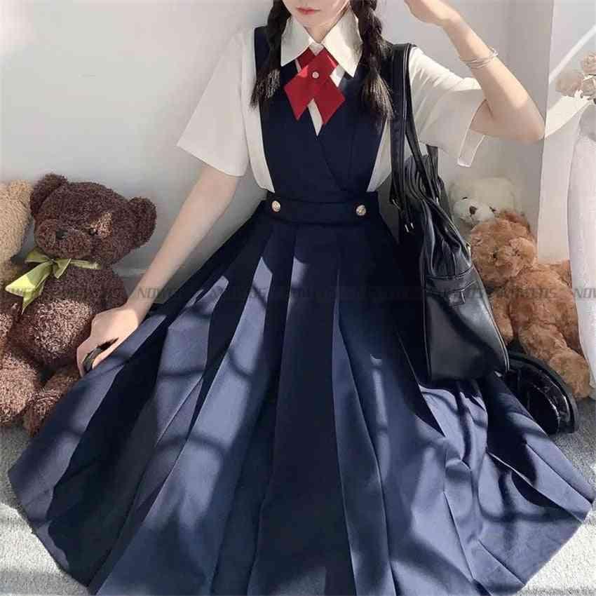 Dress Summer Women's Sleeveless Pinafore Dress Jk High School Uniform