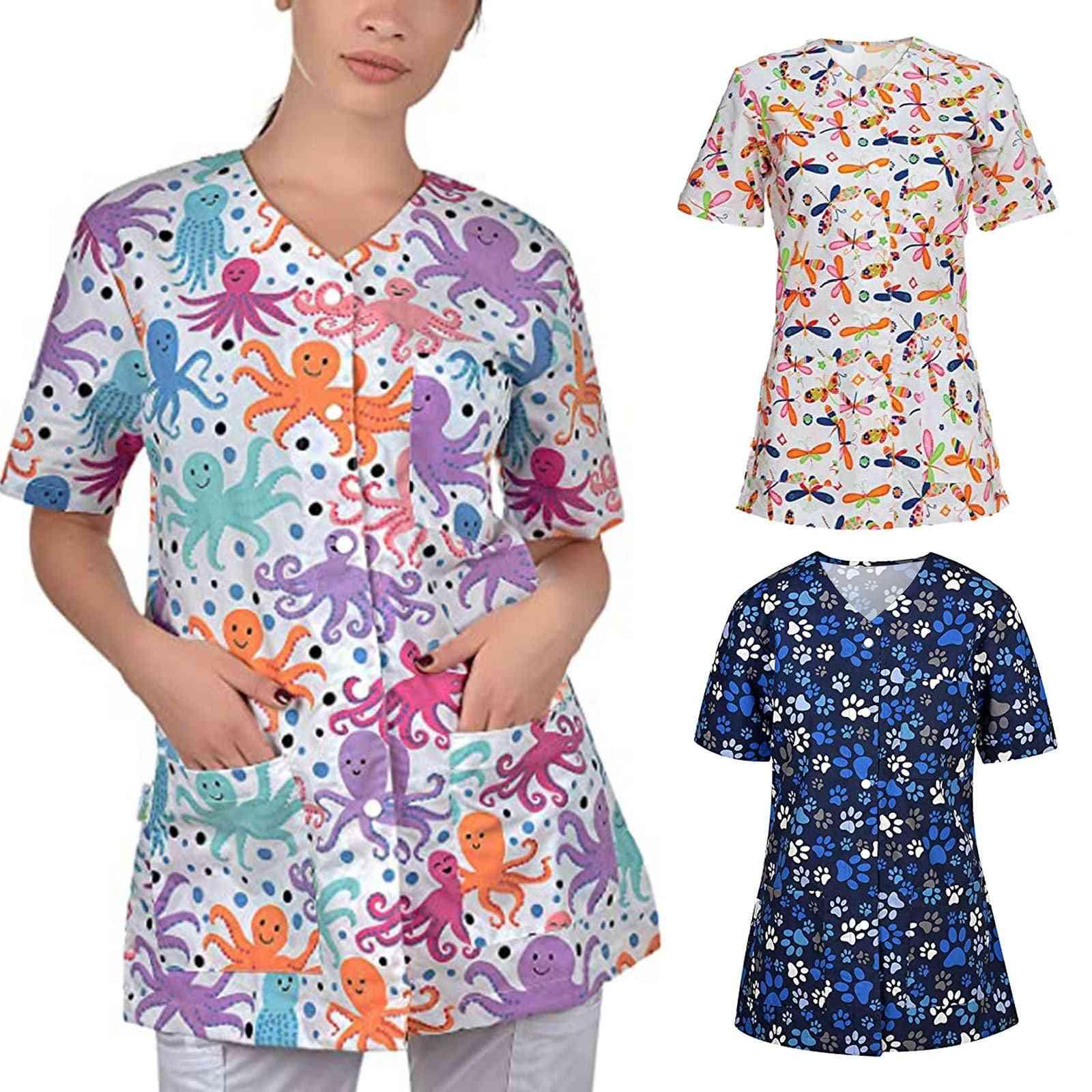 Women Uniform Short Sleeve V-neck Cardigan Jacket Buttons Tops