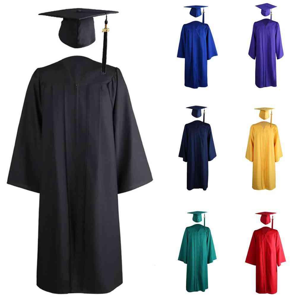 Adult Zip Closure University Academic Graduation Gown Robe Mortarboard Cap Loose