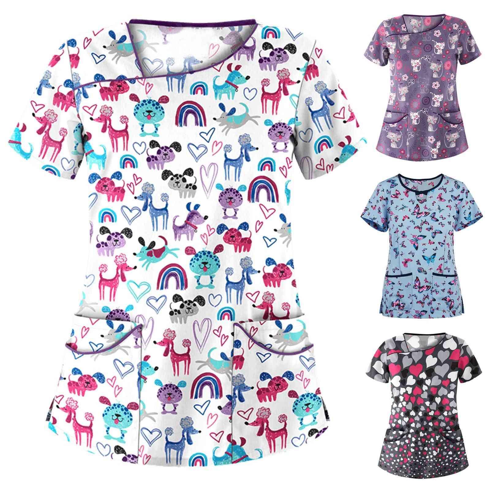 Women Short Sleeve Pocket V-neck Printing Tops Nurse Overalls Working Uniform