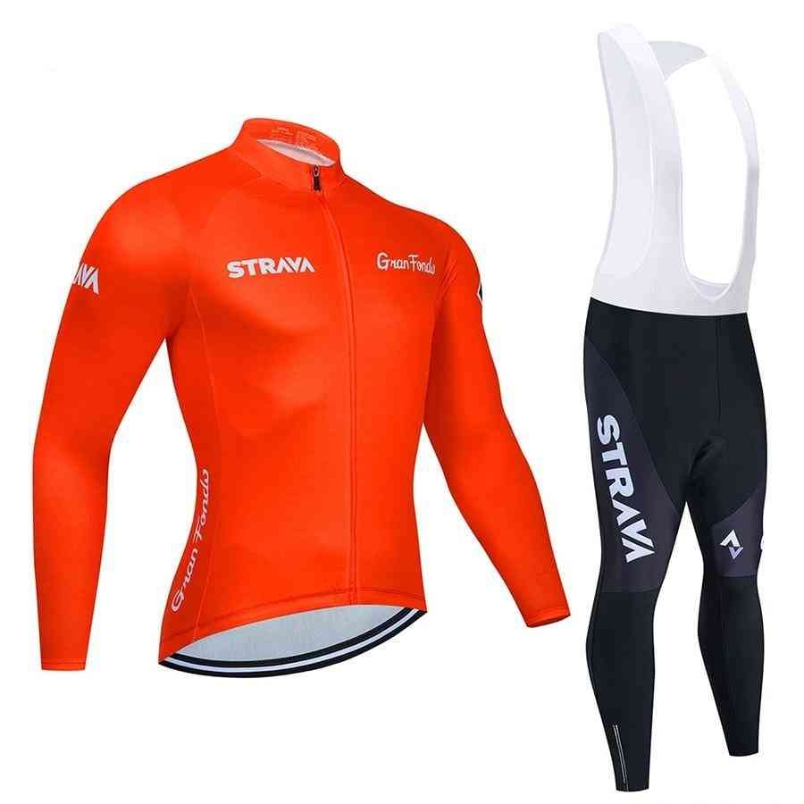 Long Sleeve Cycling Jersey Set Bib Pants