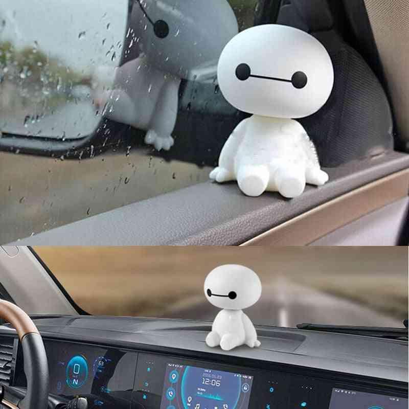 Cartoon Plastic Baymax Robot Shaking Head Figure Car Decorations