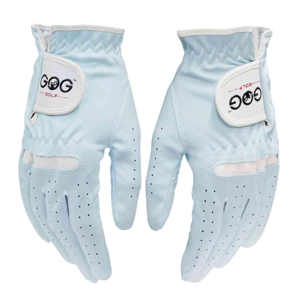 Pair Golf Gloves Women Micro Soft Fiber Breathable