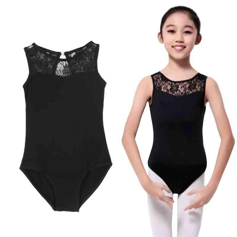 Girls Dance Wear Kids Lycra Lace Bodysuit Ballet