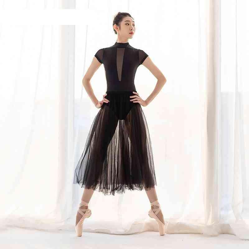 Ballet Leotards For Women, Mesh Gymnastics Short Sleeve Dress