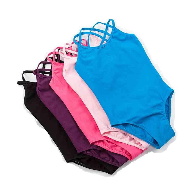 Girls Leotard Dance Gymnastics Double Strap Bodysuit
