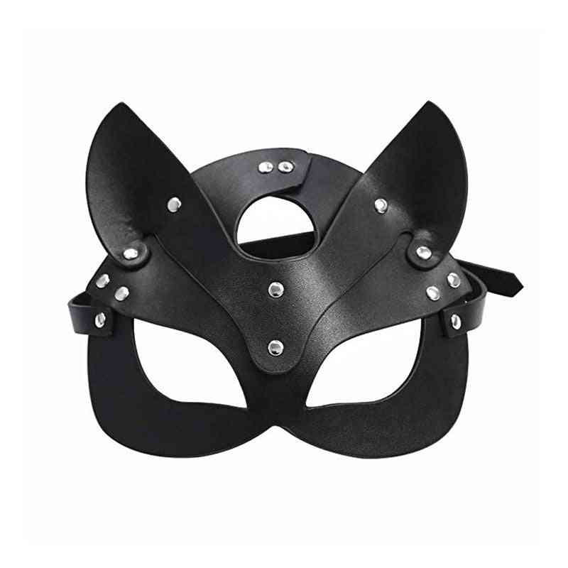 Erotic Women Sexy Mask Half Face Fox Cosplay Leather Sex Mask Halloween Party Mask