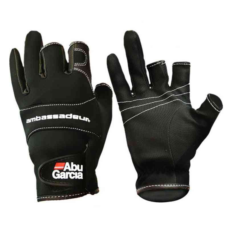 Three Fingers Cut Lure Fishing Gloves Non-slip Abu Garcia Leather Fishing Gloves Outdoor Pu Leather Sports Pesca Gloves