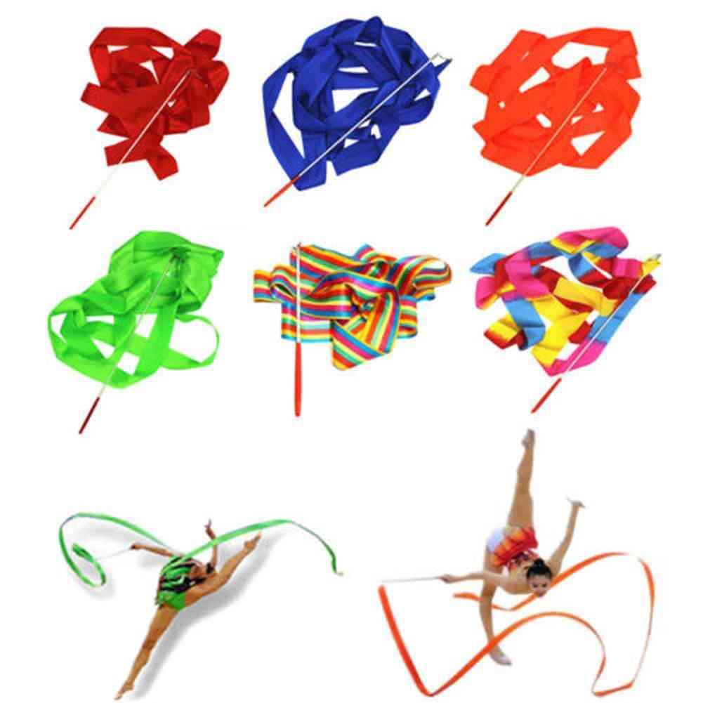 4m Colorful Gym Ribbon Dancing Ribbon Rhythmic Gymnastic Ballet Streamer Twirling Baton Rod Stick Wand For Training Professional
