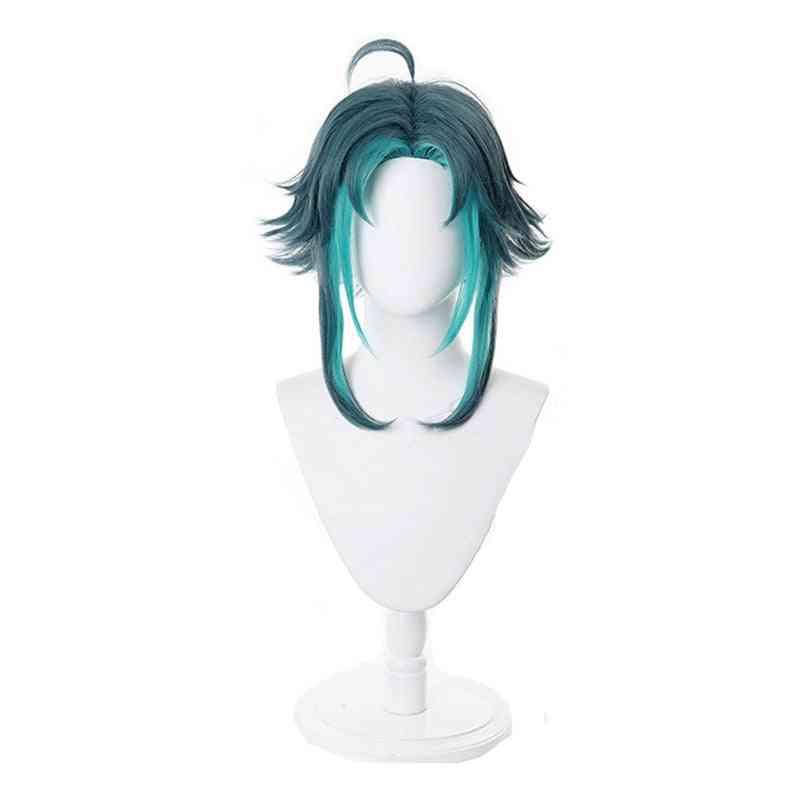 Wig Mixed Dark Green Blue