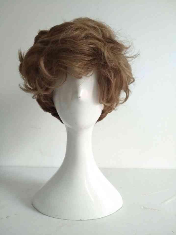 Short Brown Curly Heat Resistant Hair Wigs