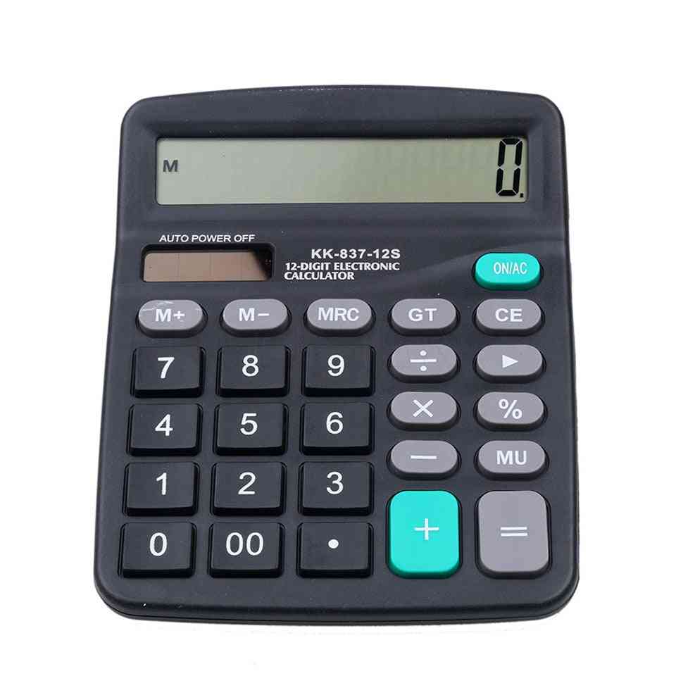 2 In 1 Powered 12 Digit Solar Or Battery Calculator With Button