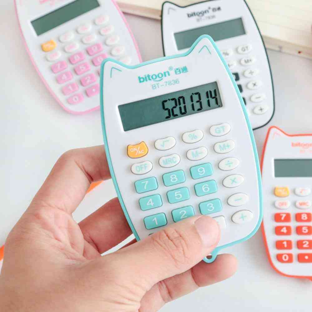 Portable Cute Cat Handheld Calculator With 12-digit Led Display