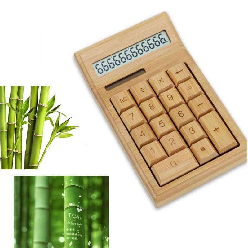 Lcd Display Bamboo Office Calculator