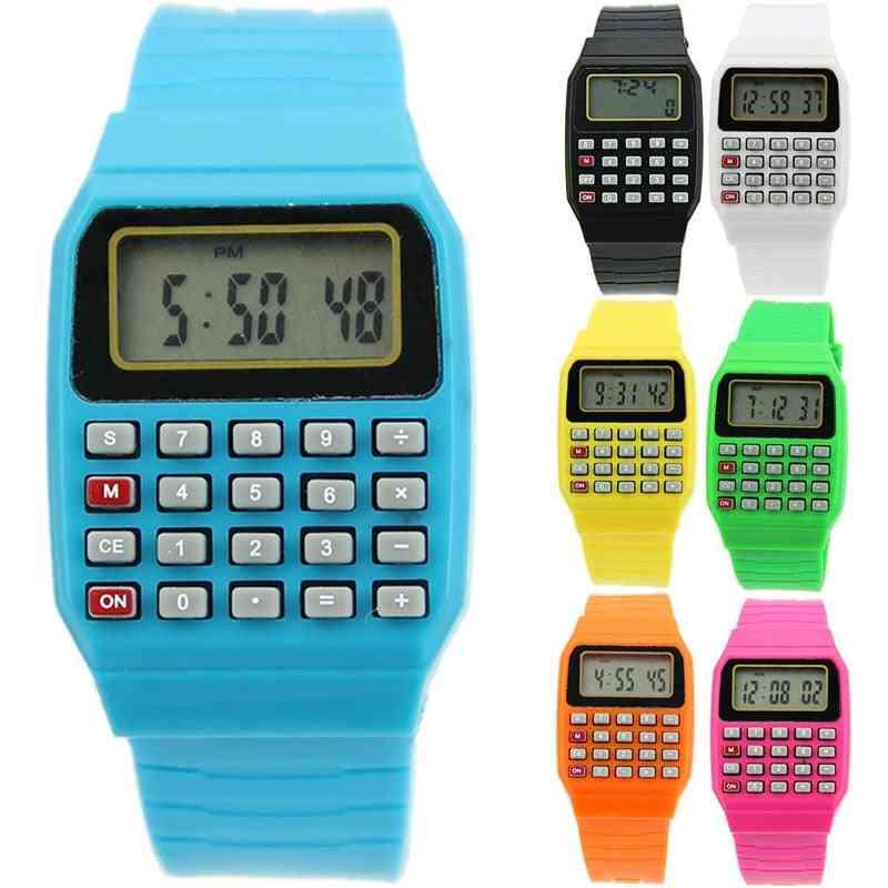 Silicone Date Multi-purpose Keypad Wrist Watch Electronic Calculator