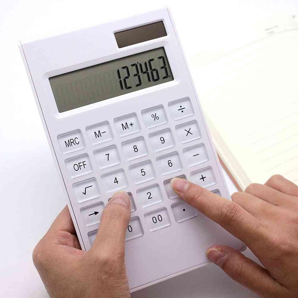 Ultra-thin Solar & Battery Dual Power Crystal Buttons Calculator