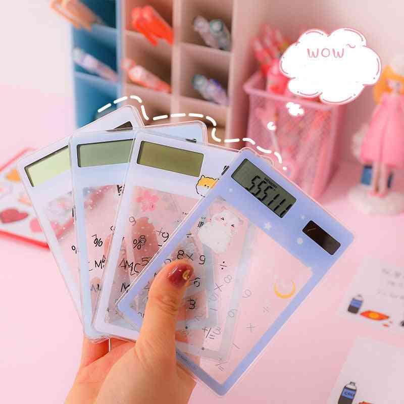 Transparent Cute Cartoon Solar Energy Mini Portable Calculator