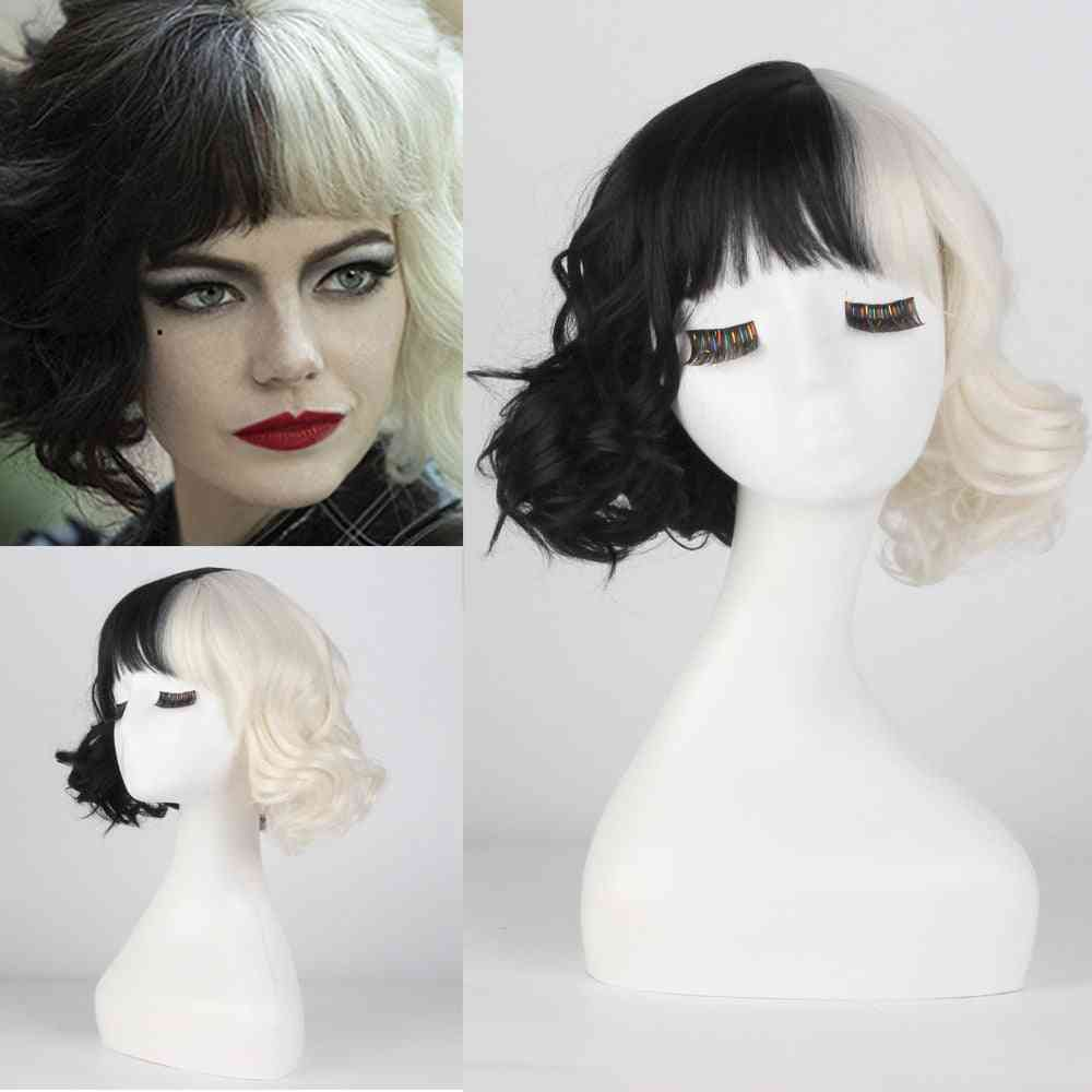 Half Black And White Wigs For Costume Cosplay Women