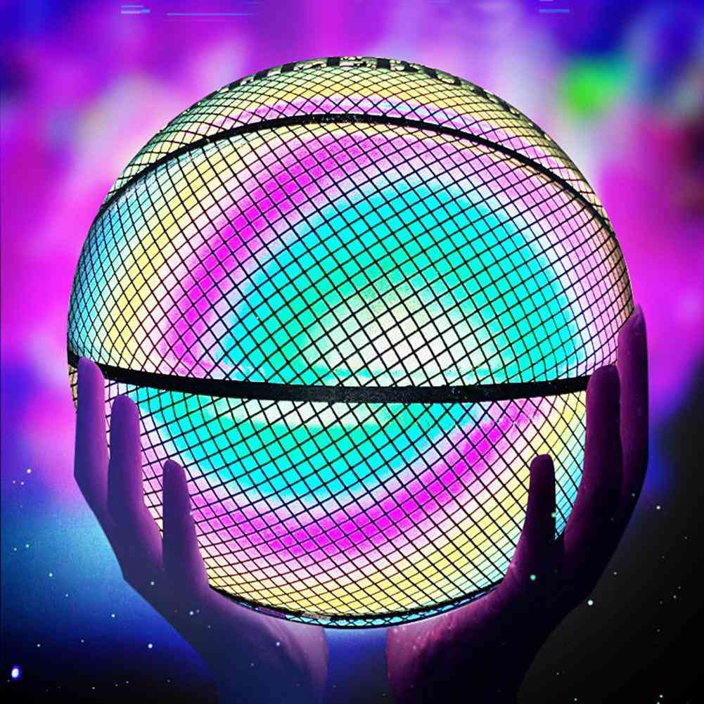 Glowing Reflective Basketball, Holographic Luminous Sports Accessories