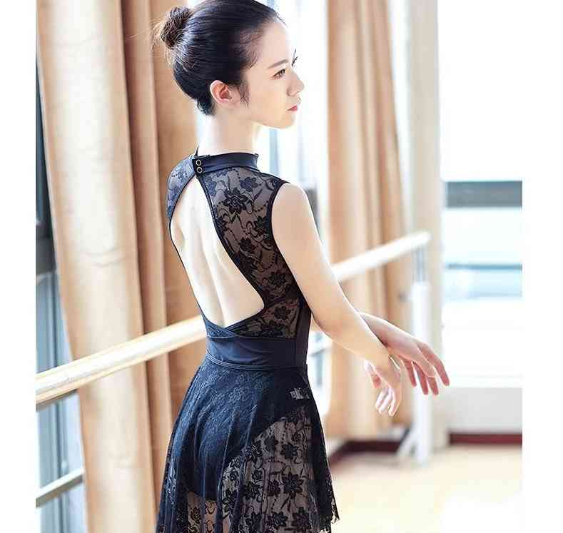 Sleeveless Ballet Leotard Suit Sexy Lace Stand Collar
