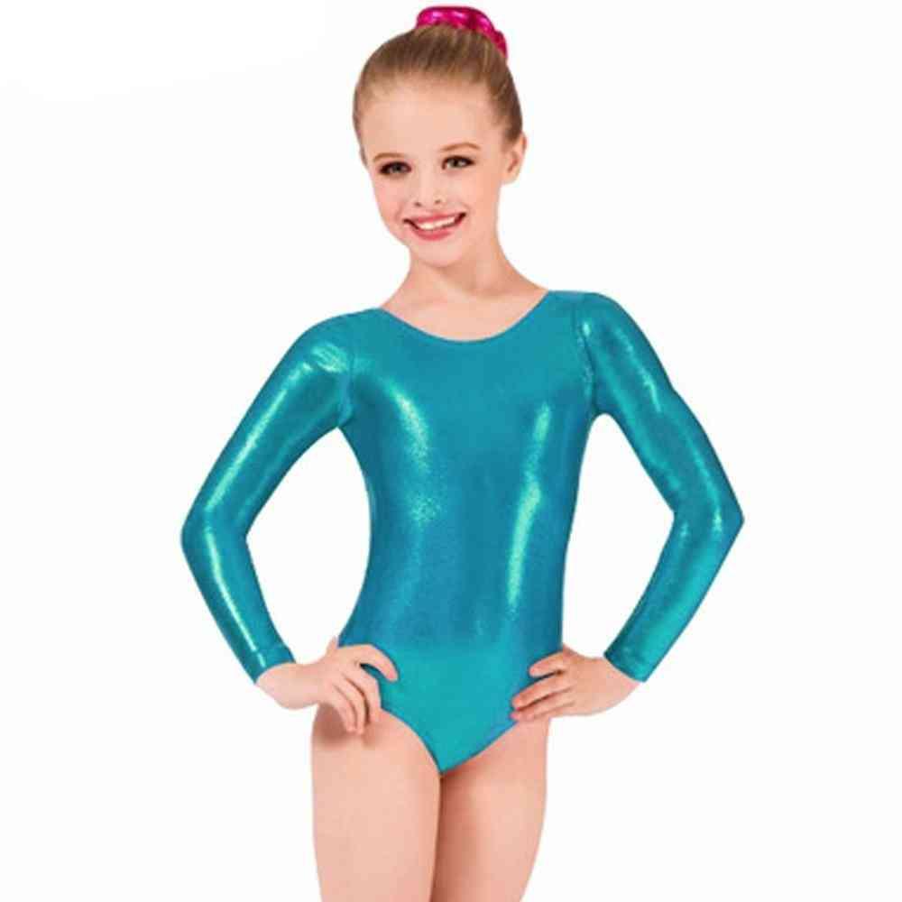 Leotards Child Metallic Long Sleeve Dance Ballet Leotards Shorts