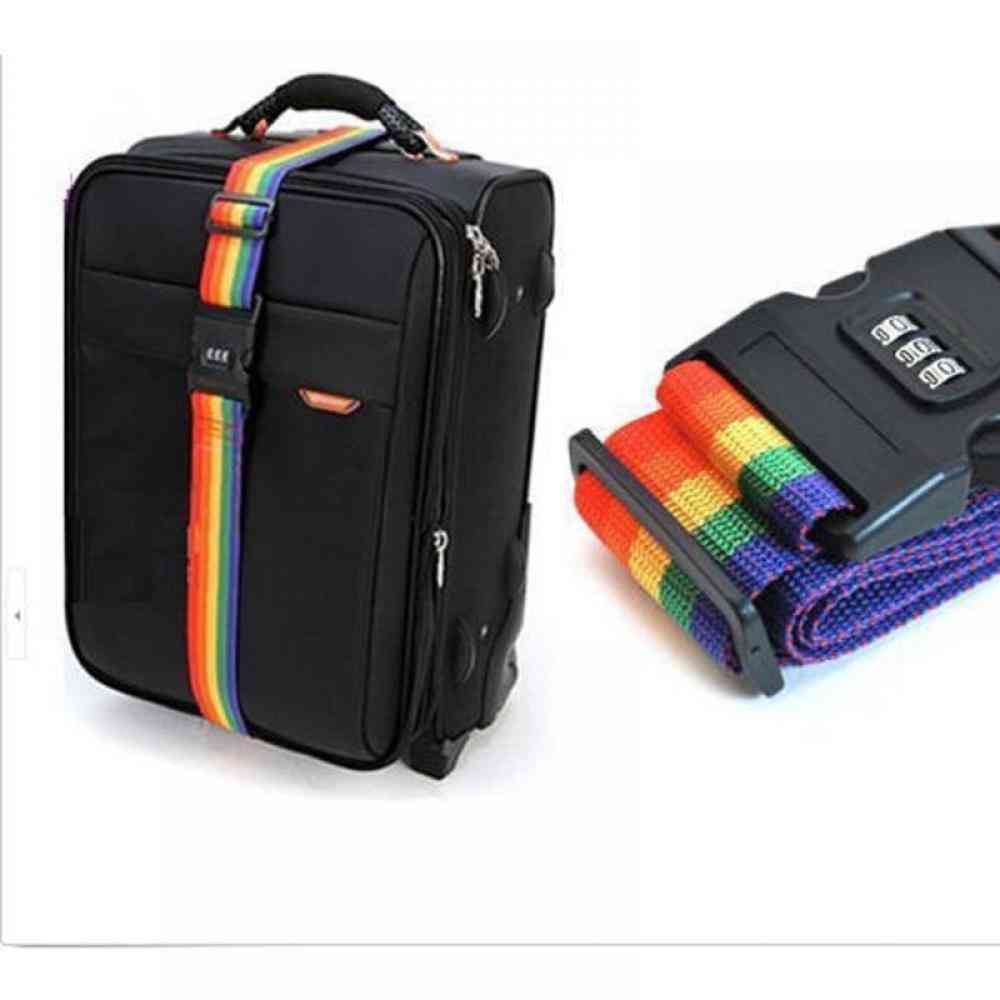 Adjustable Travel Suitcase Nylon 3 Digits Password Lock Buckle Strap