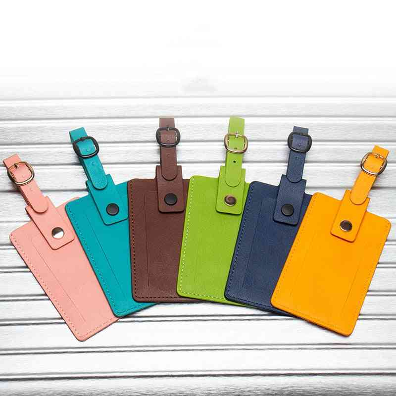 Pu Leather Luggage Tag Holder Label For Suitcases